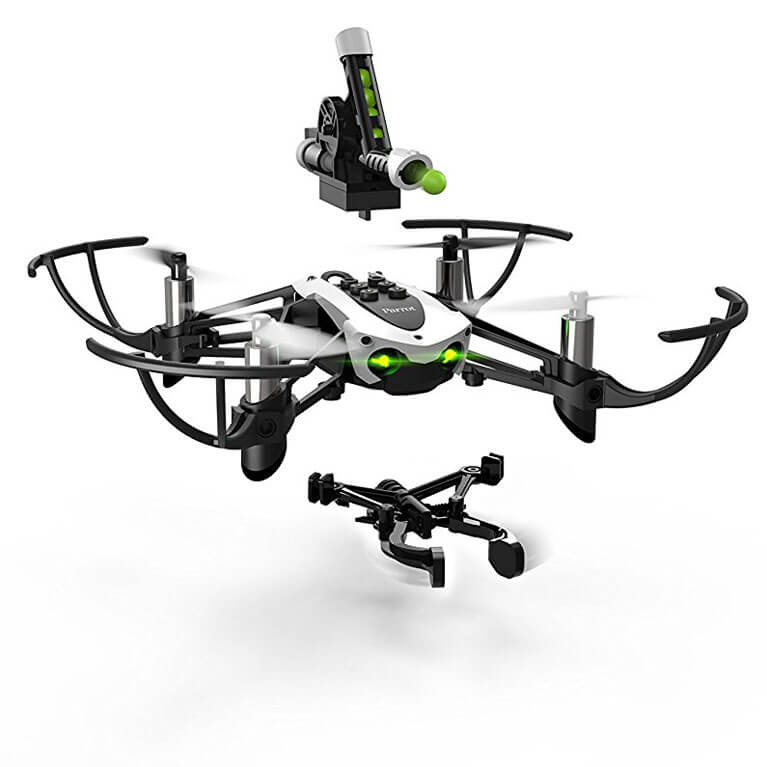 Parrot Mambo Mini Drone with Cannon Shooting and Grabber Accessories
